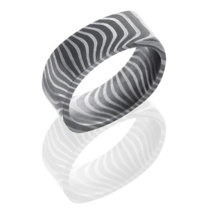 Lashbrook D8FTIGER ACID Damascus Steel Wedding Ring or Band