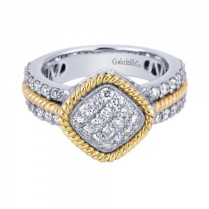 Gabriel Fashion 14 Karat Two-Tone Hampton Diamond Ladies' Ring LR4685M45JJ