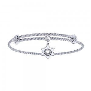 Gabriel Fashion Silver Two-Tone Soho Bangle Bracelet BG3577MXJJJ