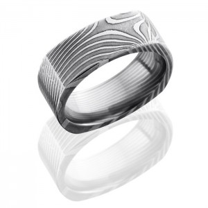 Lashbrook D8FSQFLATTWIST Polish Damascus Steel Wedding Ring or Band