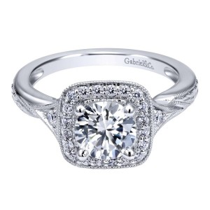Gabriel 14 Karat Contemporary Engagement Ring ER10913W44JJ