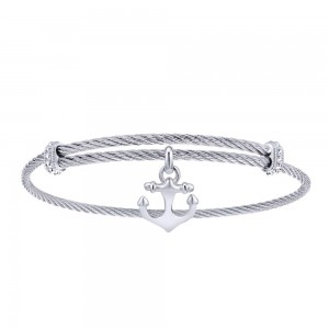 Gabriel Fashion Silver Two-Tone Soho Bangle Bracelet BG3588MXJJJ