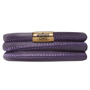 Endless Jewelry Purple Triple Bracelet Gold Lock 12506