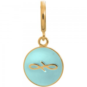 Endless Jewelry Light Blue Endless Coin Gold Plated Charm 53345-2