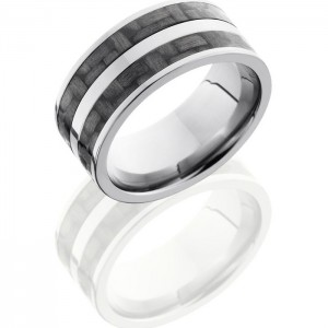Lashbrook C10F23-CF Polish Titanium Carbon Fiber Wedding Ring or Band