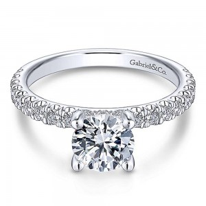 Gabriel 14 Karat Round Diamond Engagement Ring ER13904R4W44JJ