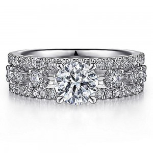 Gabriel 14 Karat Round Diamond Engagement Ring ER15544R4W44JJ