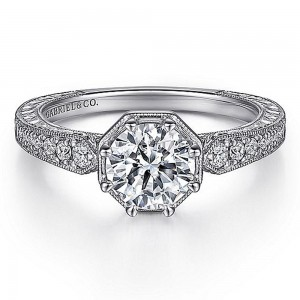 Gabriel 14 Karat Round Diamond Engagement Ring ER15587R4W44JJ