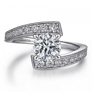 Gabriel 14 Karat Round Diamond Engagement Ring ER15593R4W44JJ