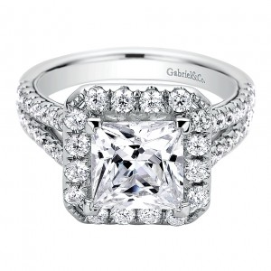 Gabriel - Corinna 14 Karat Princess Cut Halo Engagement Ring ER9257W44JJ
