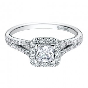 Gabriel - Corinna 14 Karat Princess Cut Halo Engagement Ring ER9479W44JJ