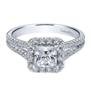 Gabriel - Corinna 14 Karat Princess Cut Halo Engagement Ring ER9538W44JJ