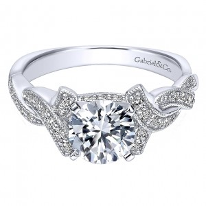 Gabriel - Cynthia 14 Karat Round Twisted Engagement Ring ER10434W44JJ