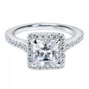 Gabriel - Lindsey 14 Karat Princess Cut Halo Engagement Ring ER5826W44JJ