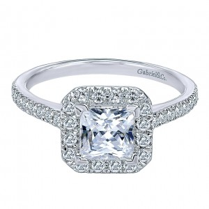 Gabriel - Patience 14 Karat Princess Cut Halo Engagement Ring ER8444W44JJ