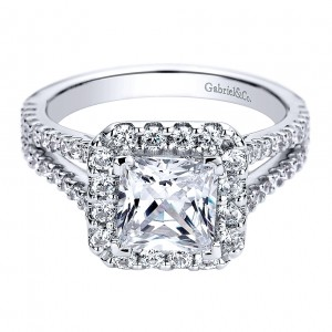 Gabriel - Savannah 14 Karat Princess Cut Halo Engagement Ring ER9403W44JJ