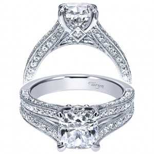 Taryn 14k White Gold Cushion Cut Split Shank Engagement Ring TE9039W44JJ