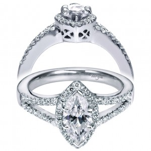 Taryn 14k White Gold Marquise Halo Engagement Ring TE5878W44JJ