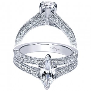 Taryn 14k White Gold Marquise Split Shank Engagement Ring TE9038W44JJ