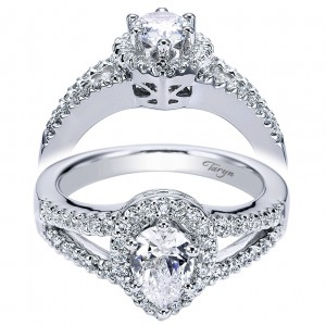 Taryn 14k White Gold Pear Shape Halo Engagement Ring TE5870W44JJ