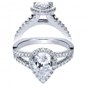 Taryn 14k White Gold Pear Shape Halo Engagement Ring TE7743W44JJ