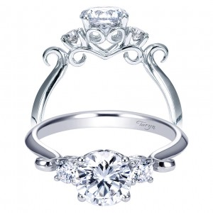 Taryn 14k White Gold Round 3 Stones Engagement Ring TE7737W44JJ