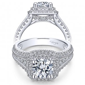 Taryn 14k White Gold Round Double Halo Engagement Ring TE11760R4W44JJ