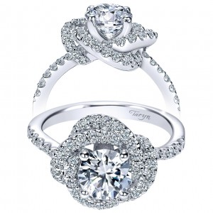 Taryn 14k White Gold Round Double Halo Engagement Ring TE8143W44JJ