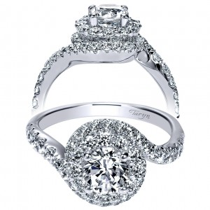 Taryn 14k White Gold Round Double Halo Engagement Ring TE9055W44JJ