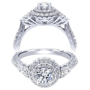 Taryn 14k White Gold Round Double Halo Engagement Ring TE910087W44JJ