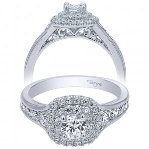 Taryn 14k White Gold Round Double Halo Engagement Ring TE910162W44JJ