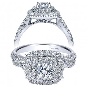 Taryn 14k White Gold Round Double Halo Engagement Ring TE911712R0W44JJ