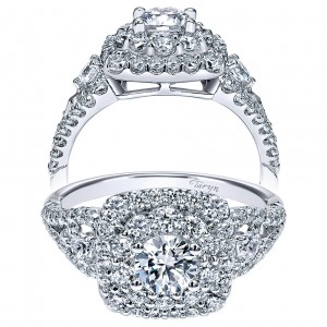 Taryn 14k White Gold Round Double Halo Engagement Ring TE911779R0W44JJ