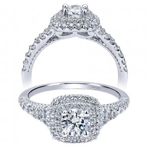 Taryn 14k White Gold Round Double Halo Engagement Ring TE911876R0W44JJ