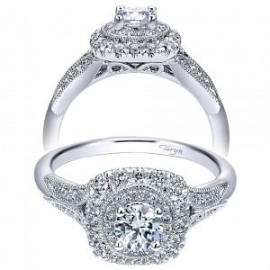 Taryn 14k White Gold Round Double Halo Engagement Ring TE911899R0W44JJ