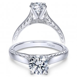 Taryn 14k White Gold Round Solitaire Engagement Ring TE8046W44JJ