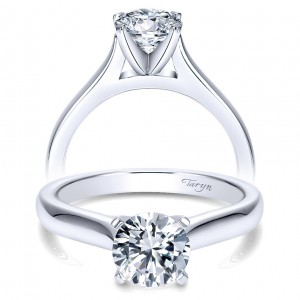 Taryn 14k White Gold Round Solitaire Engagement Ring TE8076W4JJJ