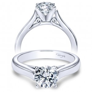 Taryn 14k White Gold Round Solitaire Engagement Ring TE8294W4JJJ