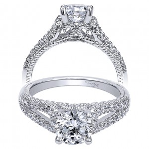 Taryn 14k White Gold Round Split Shank Engagement Ring TE10285W44JJ