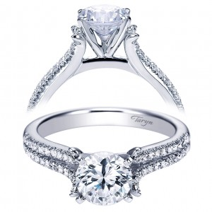 Taryn 14k White Gold Round Split Shank Engagement Ring TE7274W44JJ