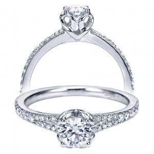 Taryn 14k White Gold Round Split Shank Engagement Ring TE7727W44JJ