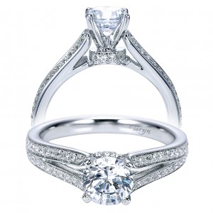 Taryn 14k White Gold Round Split Shank Engagement Ring TE8001W44JJ