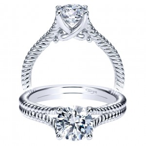 Taryn 14k White Gold Round Split Shank Engagement Ring TE8692W4JJJ