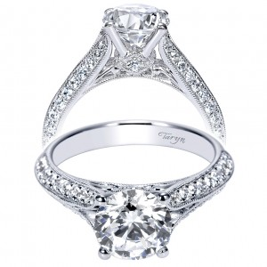 Taryn 14k White Gold Round Split Shank Engagement Ring TE9040W44JJ