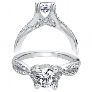 Taryn 14k White Gold Round Split Shank Engagement Ring TE9285W44JJ