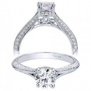 Taryn 14k White Gold Round Split Shank Engagement Ring TE9305W44JJ