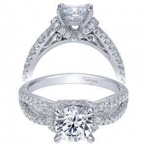 Taryn 14k White Gold Round Twisted Engagement Ring TE10752W44JJ