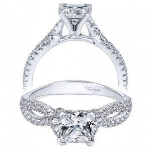 Taryn 14k White Gold Round Twisted Engagement Ring TE11887S4W44JJ