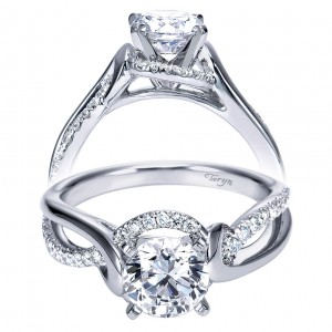 Taryn 14k White Gold Round Twisted Engagement Ring TE7801W44JJ