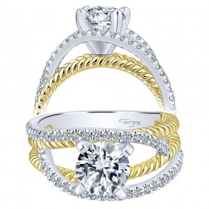 Taryn 14k Yellow/White Gold Round Free Form Engagement Ring TE5363M44JJ